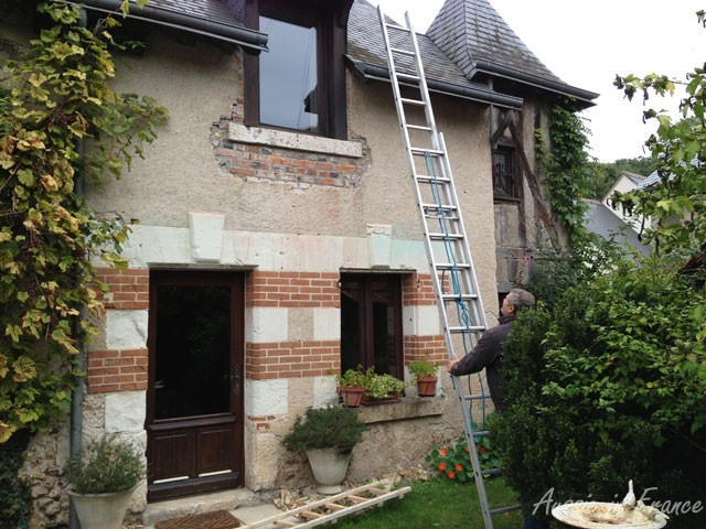The first ladder in place