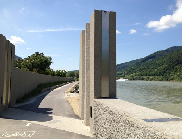 A flood gate to be used when the Danube is in spate in Austria