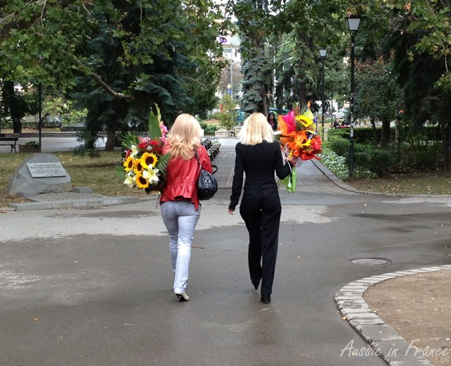 We saw many women walking along with similar bouquets in their hands
