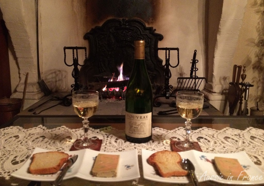 Homemade foie gras and vouvray to see the New Year in before the fire