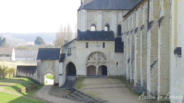 The first view of Fontevraud when you enter the abbey, with the church on the right