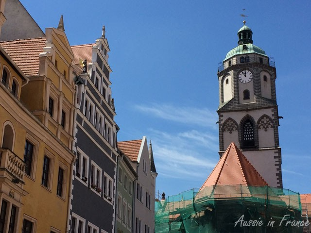 The bell tower of Frauenkirche with its porcelain bells