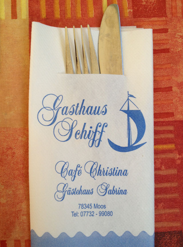 Serviette and cutlery at Gasthaus Schiff - schiff means boat.