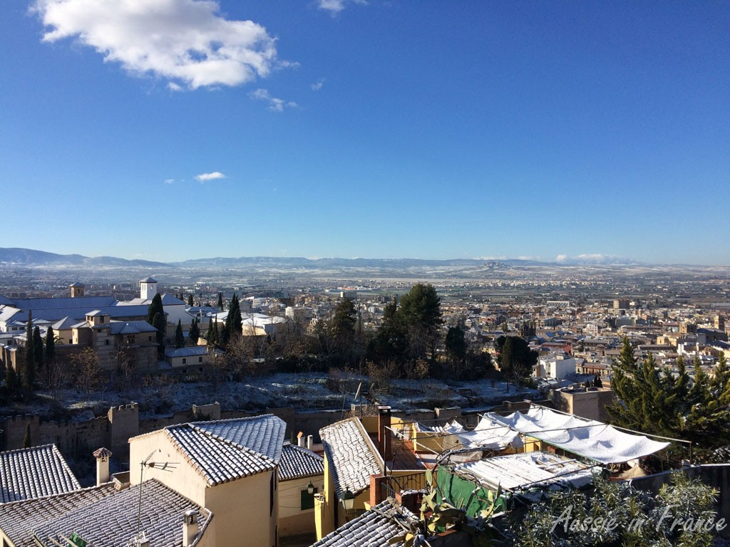 Snow-covered rooftops of Granada