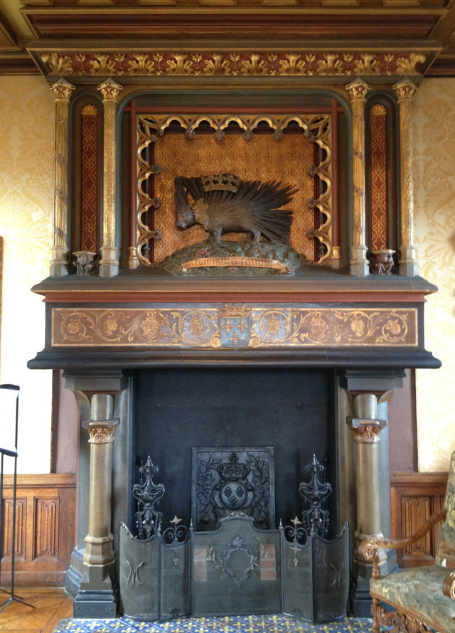 Monumental fireplace in the Grand Salon