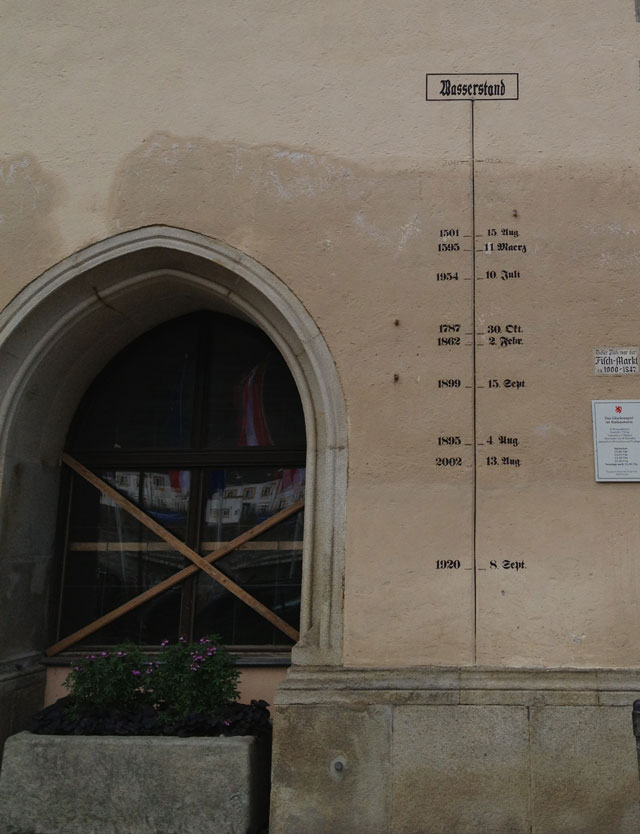 The highwater mark on the Town Hall.