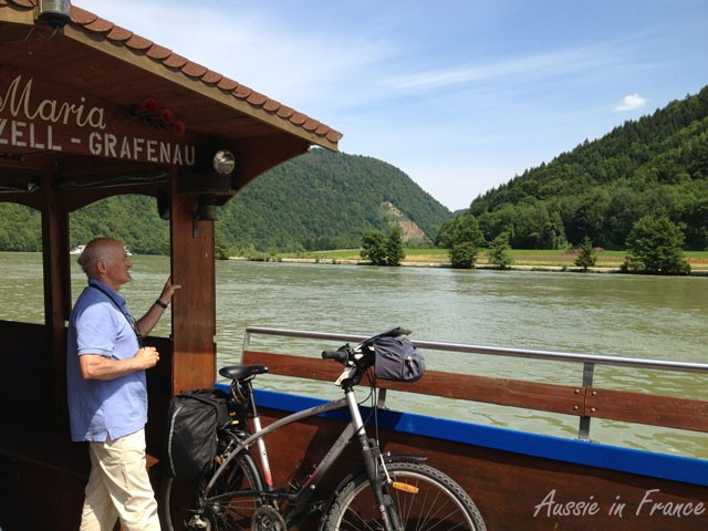 Jean Michel on a ferry on the Danube. You can see the saddle bag and front bag. The photo was taken last year before we bought our special outdoor wear.