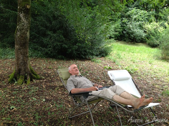 Resting in our little wood during our lightening visit to Blois two weeks ago
