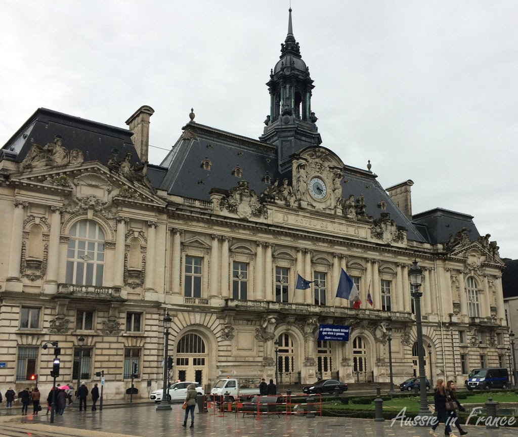 Town hall in Tours with its Charlie Hebdo banner