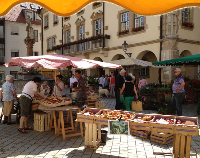 Vegetable and fruit stalls in Germany