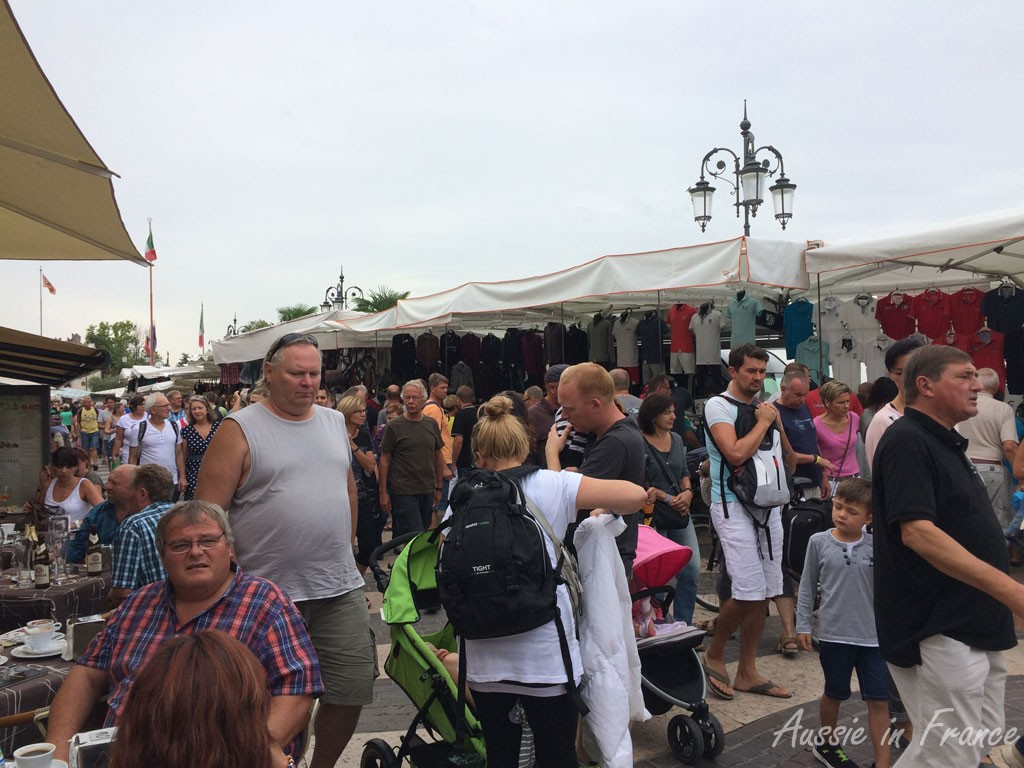 The market crowds in Lazise