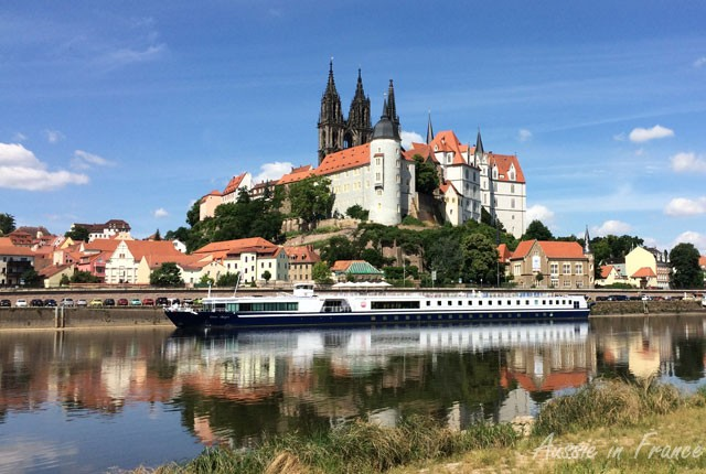 Meissen from the cycle path on the east bank of the Elbe