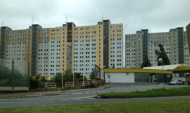 The high-rise buildings where our GPS took us