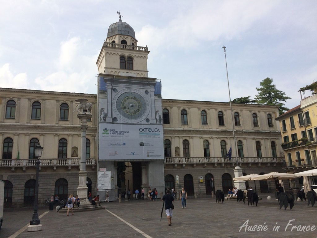 The oldest clock in Italy (14th century) on the Venitian-style Piazza dei Signori
