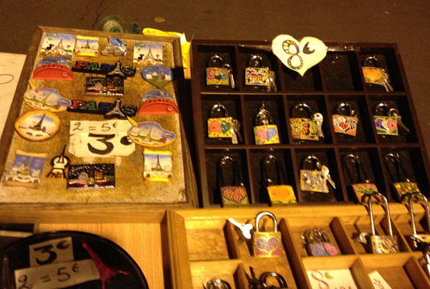 Padlocks for sale at the bouquinistes near the Pont des Arts