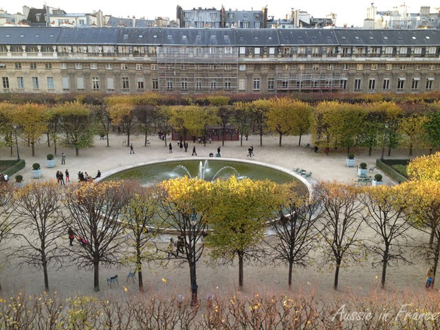 Palais Royal with the fountain. Unfortunately, some new scaffolding has arrived opposite!