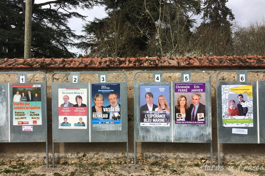 Election billboards outside the polling station