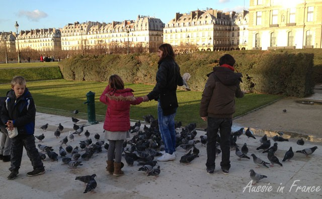 The man in the middle of the photo kept inviting children to come and hold out their arm so that the pigeons could alight on them.