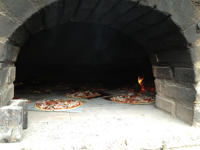 Our pizza in the oven