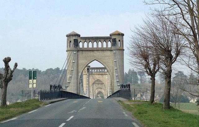 Suspension bridge over the Loire in Langeais, built in 1849