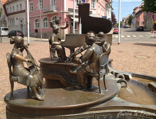 A quartet fountain in Germany at the source of the Danube