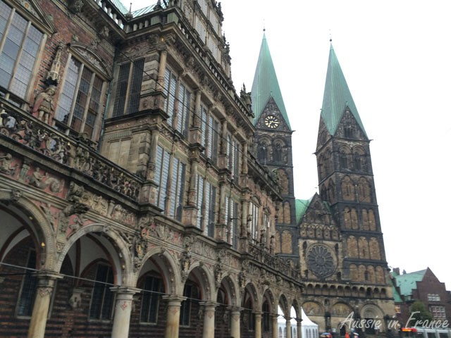 The Rathaus and Cathedral in Bremen, in the Weser Renaissance style