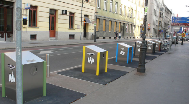 Recycling bins in Ljubljana