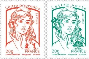 Green and red stamps