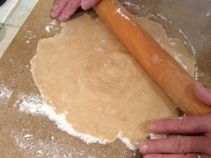 Rolling dough towards the inside