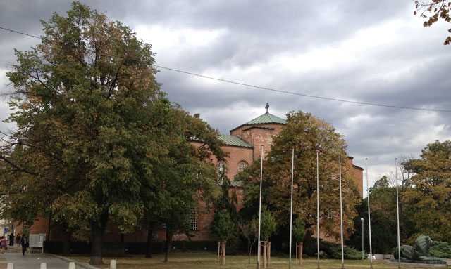 St Sofia, largely camouflaged by trees