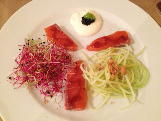 Irish gravlax with beetroot and leek sprouts, horseradish cream and roe