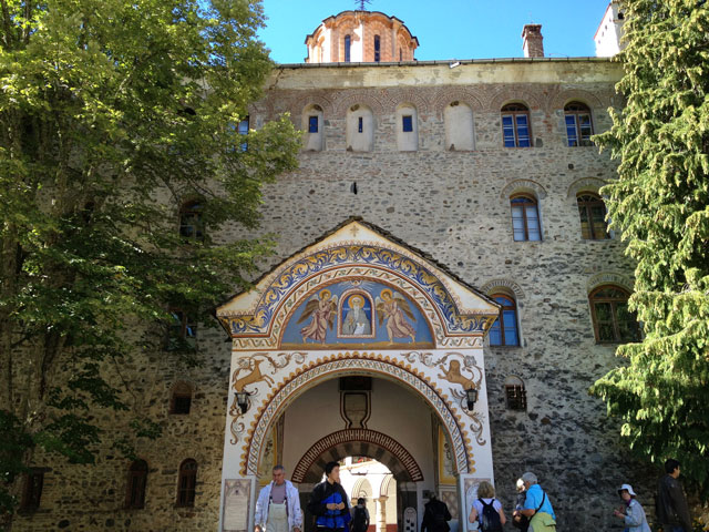The rear entrance to Rila Monastery