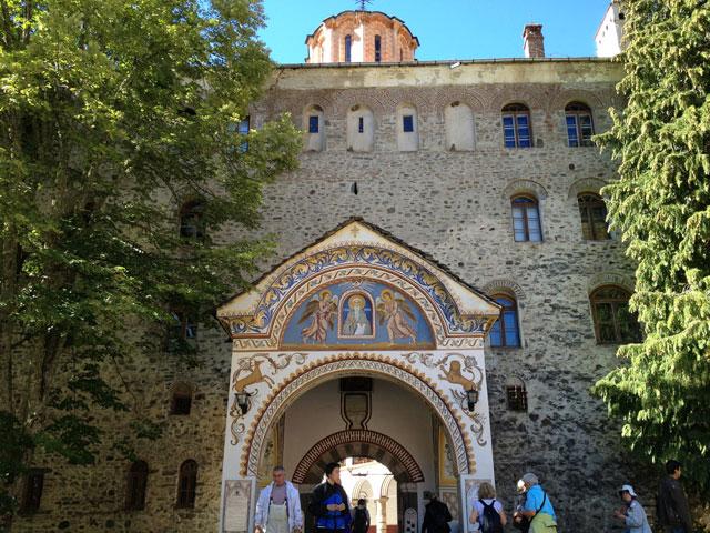 The rear entrance to Rila Monastery