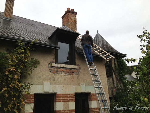 Mr B. taking up the second ladder