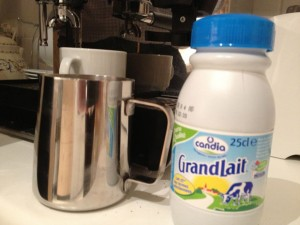 Stainless steel jug and half-cream milk