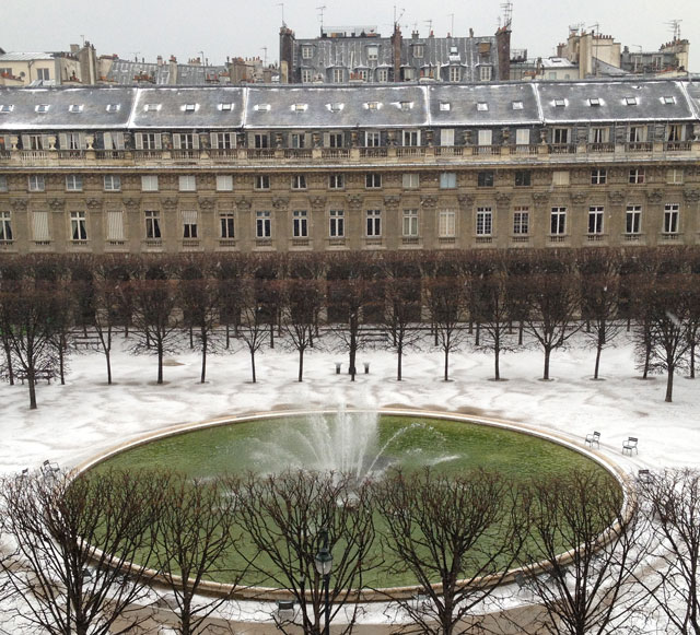 Snow in the Palais Royal yesterday morning