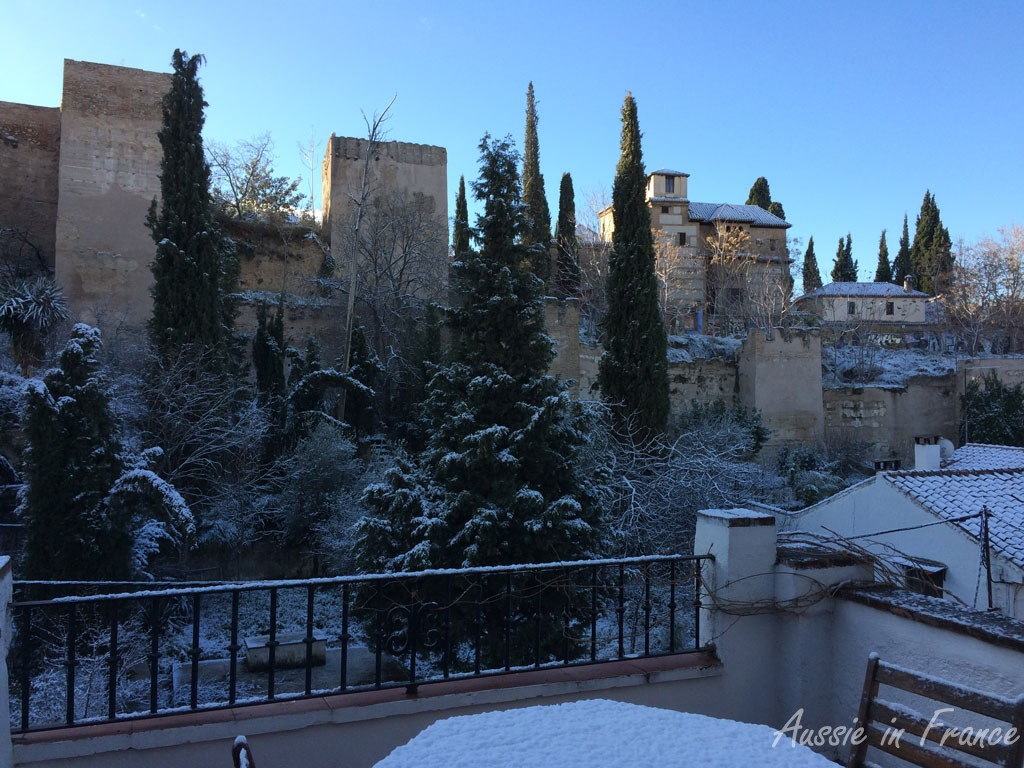 Snow on our terrace next morning
