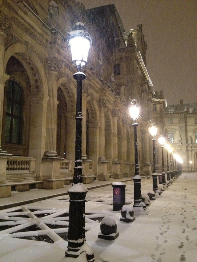 Snowing on the Louvre