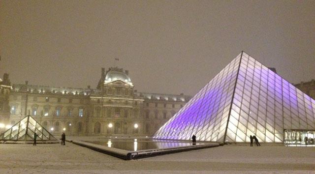 Snow on the pyramid at night