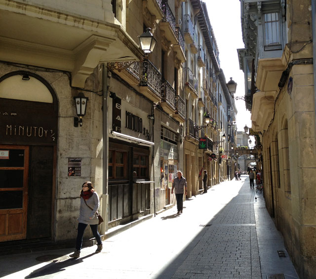 Typical street in the old part of San Sebastian