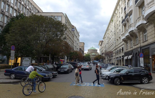 Even the bikes stop for pedestrians in Sofia