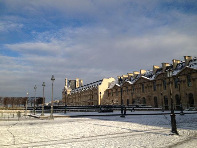 Sun on the Rue de Rivoli wing of the Louvre