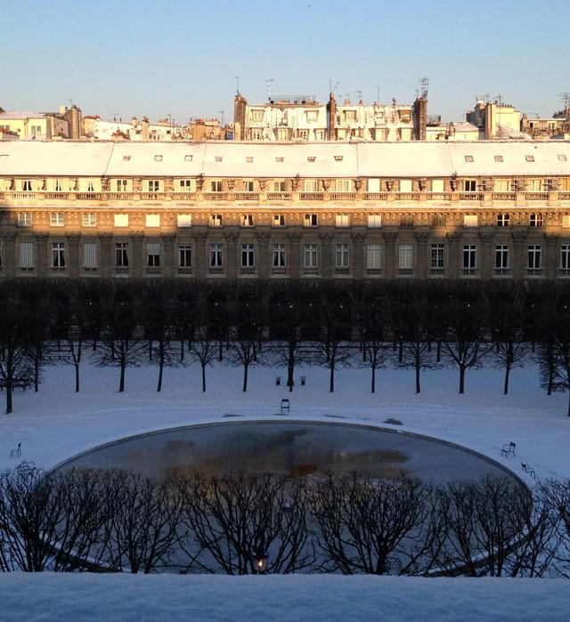 Snow in the Palais Royal gardens this morning