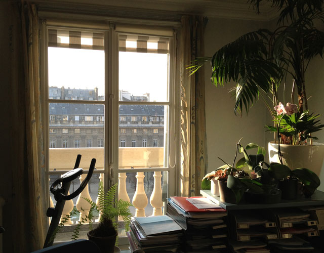 Sun coming through my office window in the Palais Royal