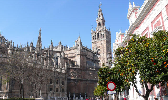 Sunny Seville in spring with its famous oranges