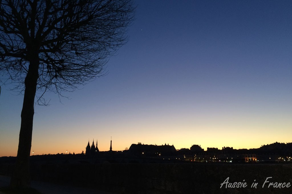 Sunset over Blois on the way home