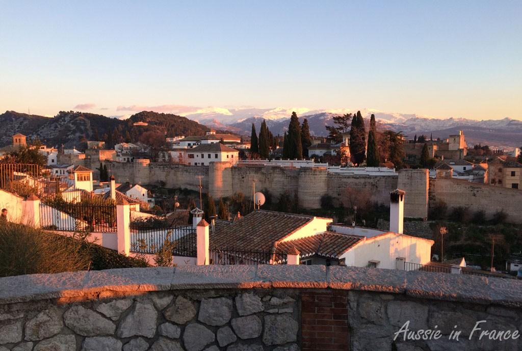 Sunset over the Alhambra in Granada