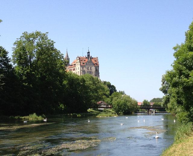 Sigmaringen Schloss with swans