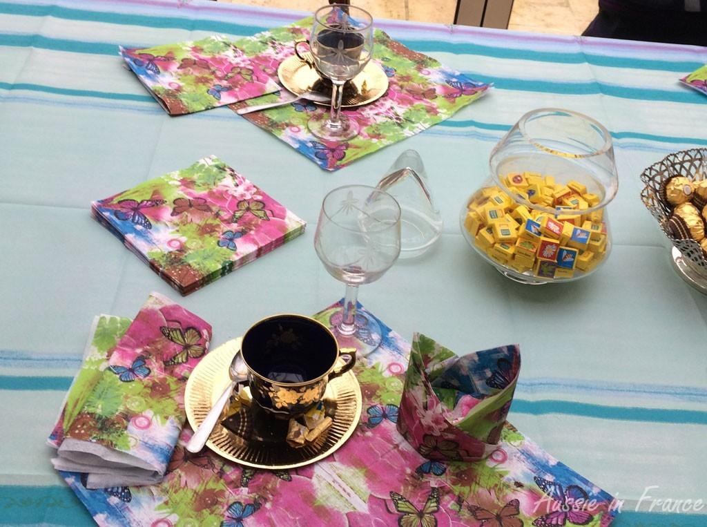 Wine glasses and coffee cups on the veranda