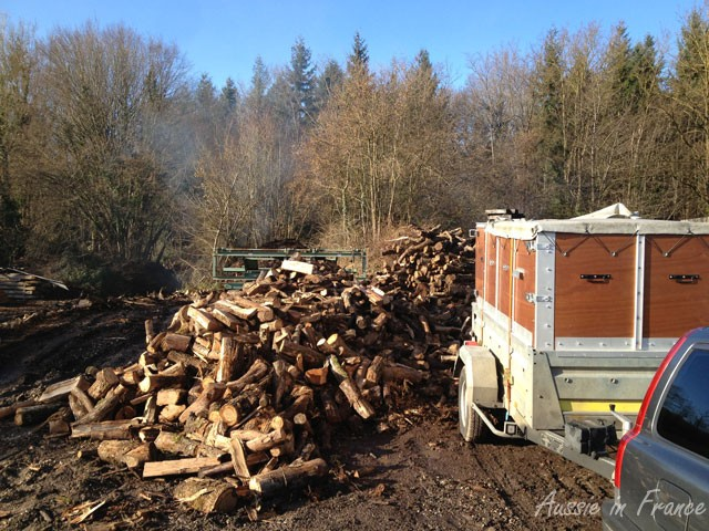 The trailer backed up as far as possible to the woodpile